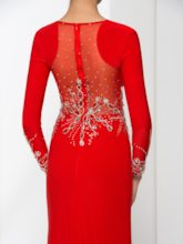 Long Sleeves Split-Front Beading Red Evening Dress