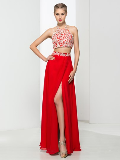 Two Pieces A-Line Halter Appliques Floor-Length Evening Dress