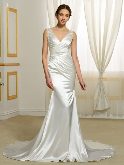 Backless V-Neck Appliques Beading Trumpet/Mermaid Wedding Dress