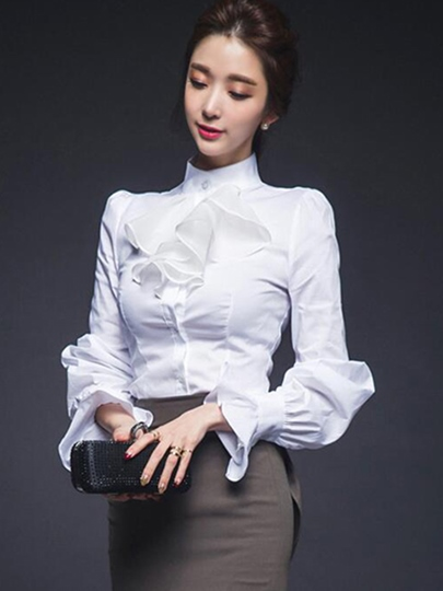 White Stand Collar Slim Women's Shirt