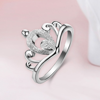 Elegant Crown Design Silver Women Ring