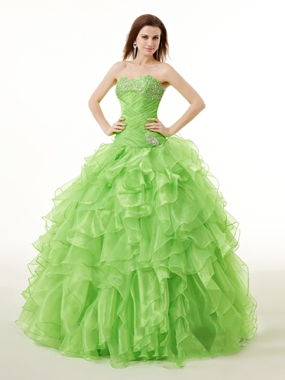 Ball Gown Ruffles Sweetheart Beading Floor-Length Quinceanera Dress