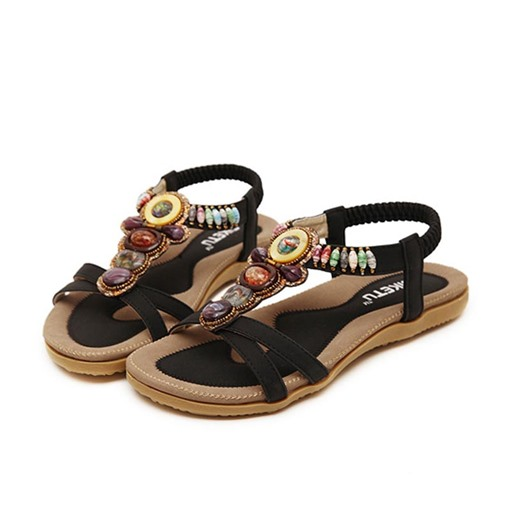 Open Toe Flat Heel Rhinestone Hollow Women's Flat Sandals