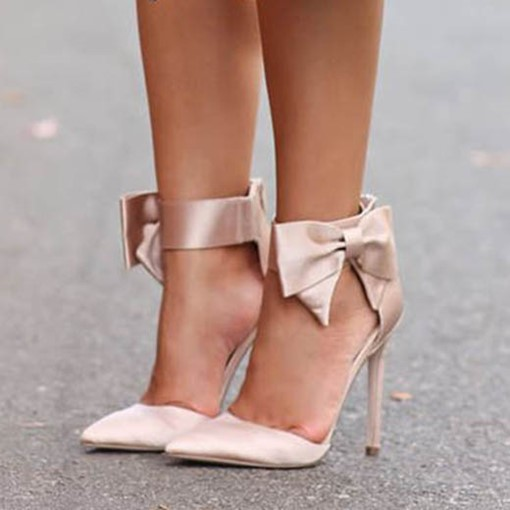 Pointed Plain Bowtie Stiletto Heel Bridal's Fancy Wedding Sandals