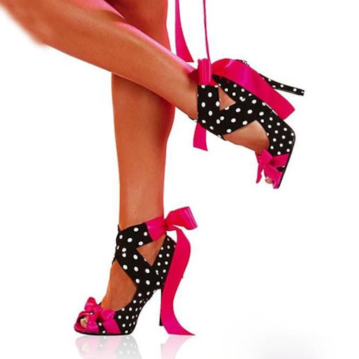 Peep Toe Lace-Up Polka Dots Cross Strap Stiletto Heel Women's Sandals