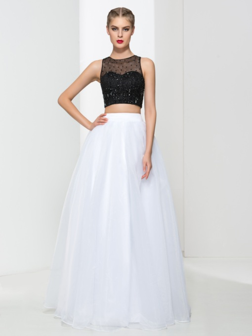 Jewel Neck A-Line Beading Sequins Prom Dress
