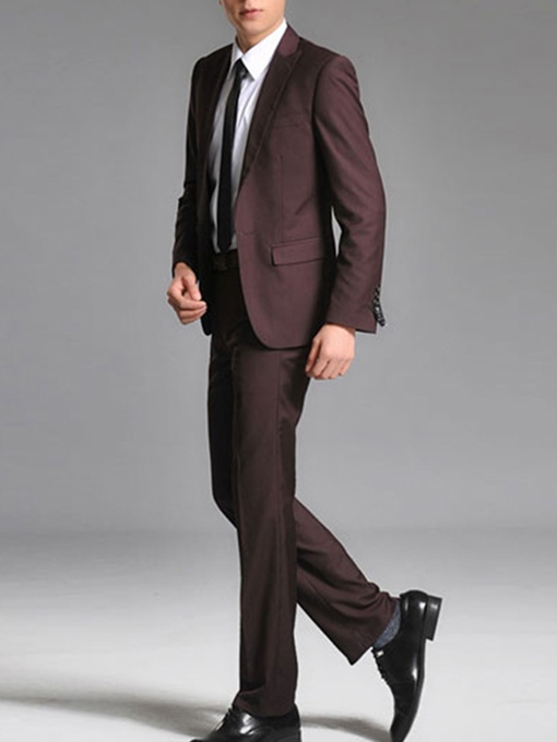 Men's Slim Fit Groom Suit with Solid Color