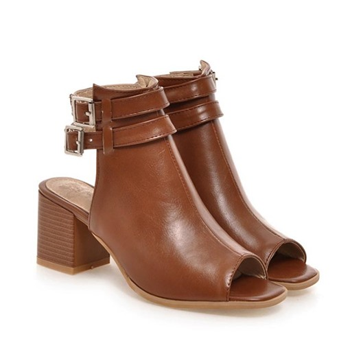 Chunky Heel Peep Toe Buckle Women's Sandals