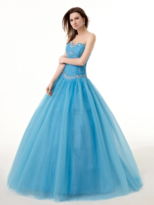 Sweetheart Pleats Ball Gown Beading Floor-Length Quinceanera Dress