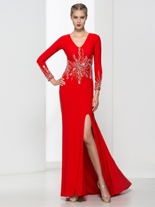 V-Neck Long Sleeves Mermaid Beading Sweep Train Evening Dress