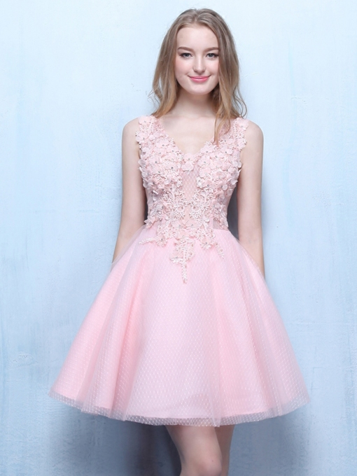 V-Neck Lace Beading Pink Homecoming Dress