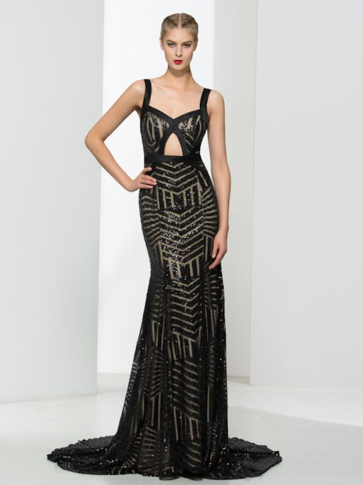 Mermaid Straps Beading Lace Sequins Floor-Length Evening Dress