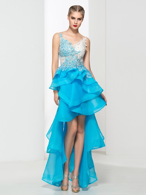 A-Line V-Neck Appliques High Low Prom Dress