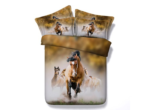 Running Horses Printed 4-Piece 3D Bedding Sets/Duvet Covers