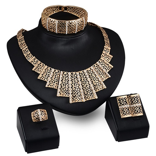 Golden Square Hollow Combination Women's Jewelry Set
