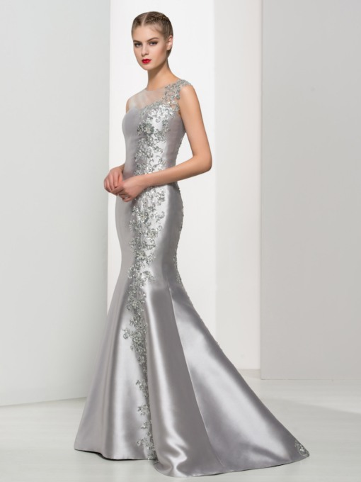Mermaid Scoop Appliques Beading Evening Dress