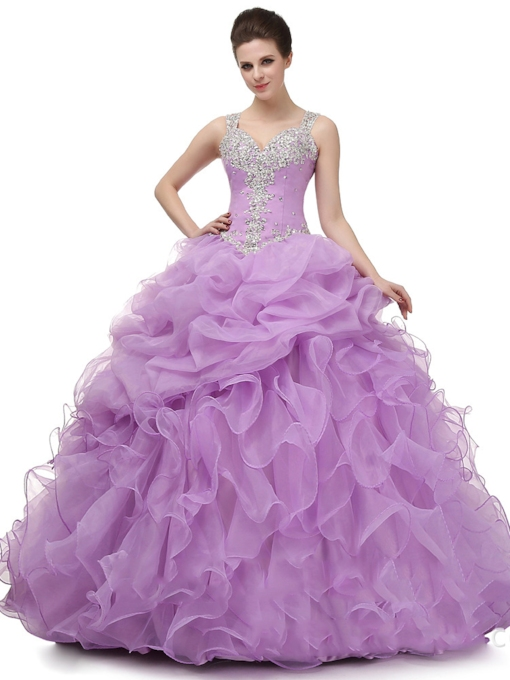 Appliques Straps Ball Gown Beading Floor-Length Quinceanera Dress