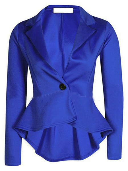 Solid Color Langarm Revers dünne Frauen Blazer