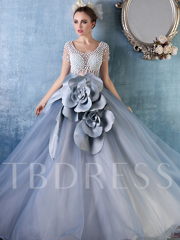 Image of Ball Gown Flowers Pearls Floor-Length Quinceanera Dress