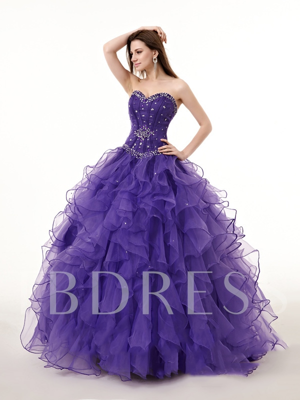 Image of Ball Gown Beading Sweetheart Rhinestone Quinceanera Dress