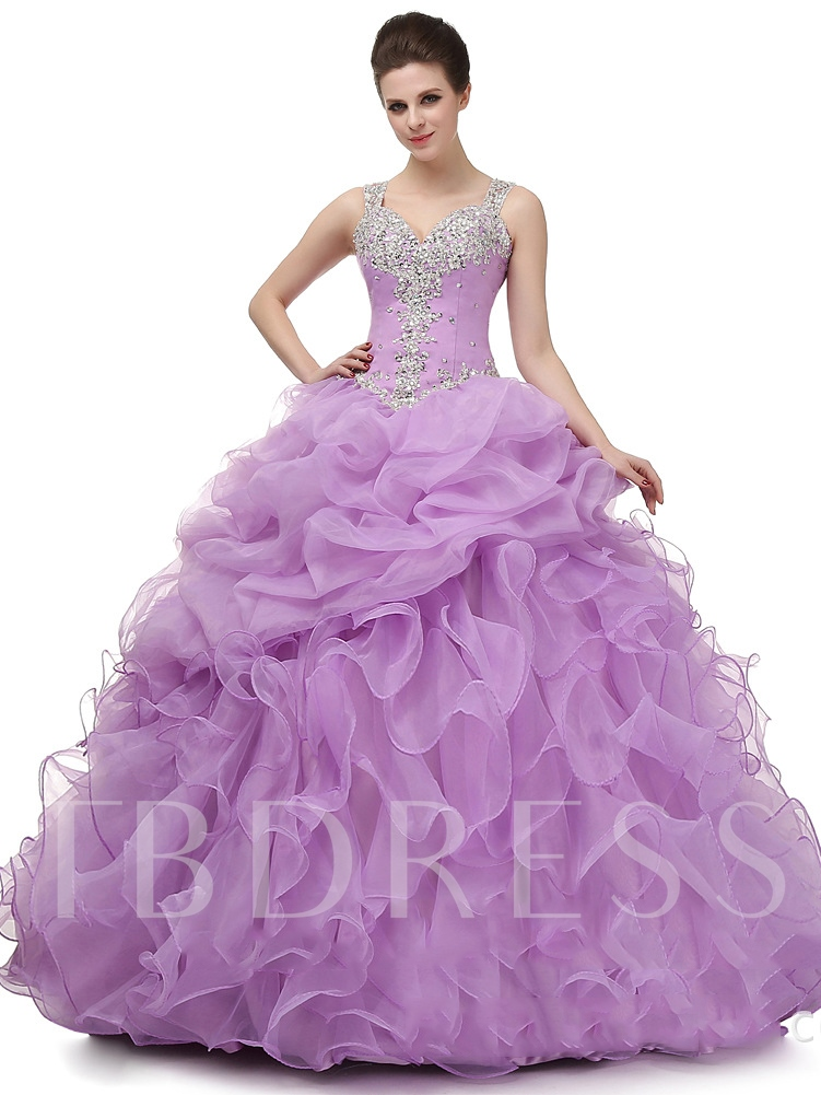Image of Appliques Straps Ball Gown Beading Floor-Length Quinceanera Dress
