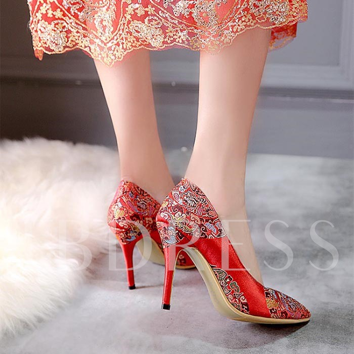 Pointed Toe Stiletto Heel Floral Women's Pumps