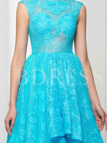 Jewel Neck A-Line Lace Ruffles Asymmetry prom Dress