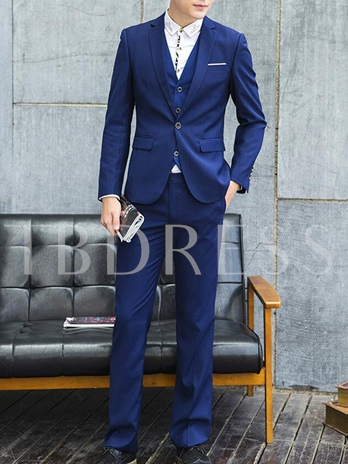Men's Three Pieces Suit with Contrast Buttons