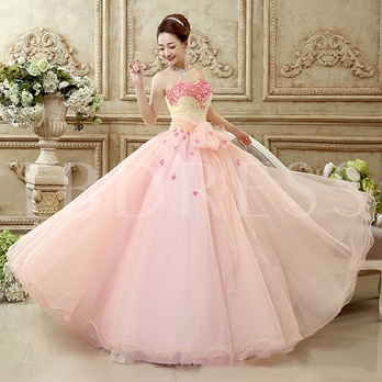 Pearls Ball Gown Bowknot Sweetheart Embroidery Floor-Length Quinceanera Dress
