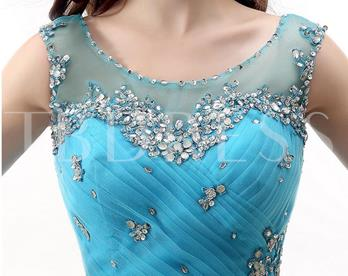 Round Neck Ball Gown Beading Ruched Floor-Length Quinceanera Dress