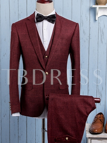 Men's Large Check Suit with Three Pieces