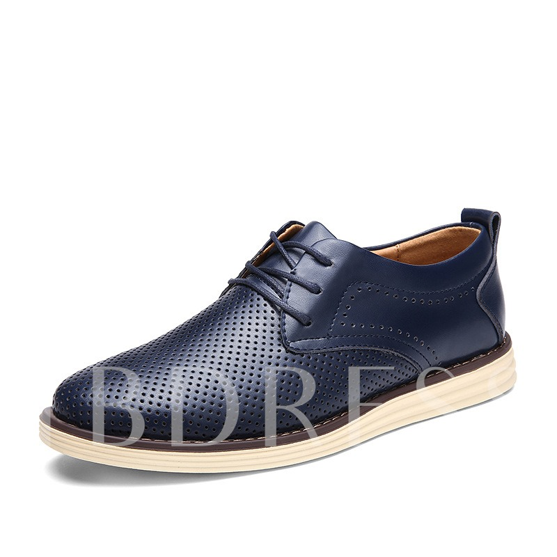 Round Toe Flat Heel Low-Cut Men's Oxfords