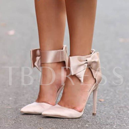 Buy Pointed Plain Bowtie Stiletto Heel Bridal's Fancy Wedding Sandals, Sheshoe, Spring,Fall, 12139099 for $54.99 in TBDress store