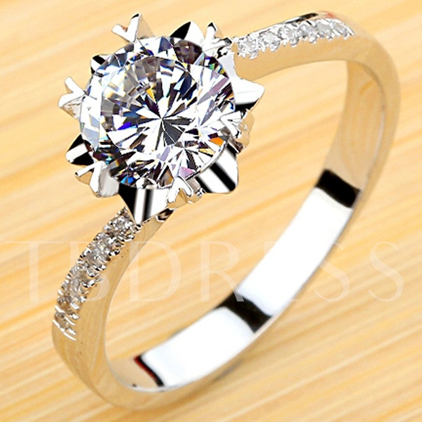Snow Silver Diamond Shaped Ring