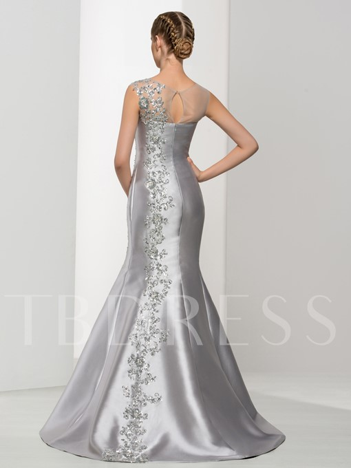 Mermaid Scoop Neck Appliques Beading Evening Dress