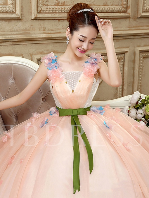 Square Neck Ball Gown Embroidery Floor-length Quinceanera Dress
