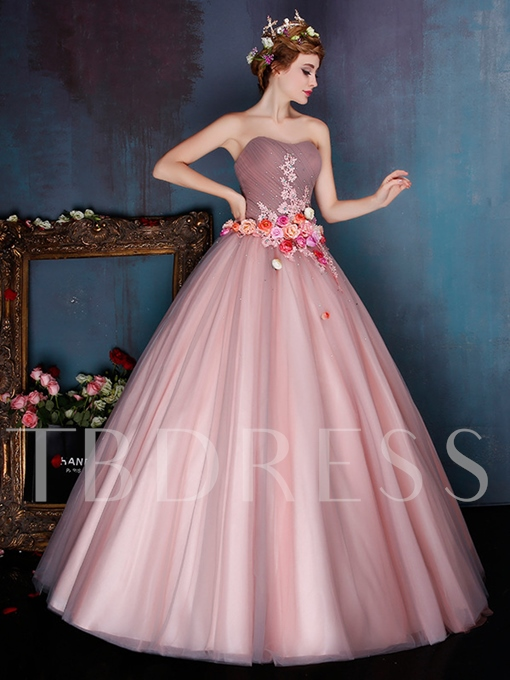 Sweetheart Flowers Ball Gown Appliques Beading Floor-Length Quinceanera Dress
