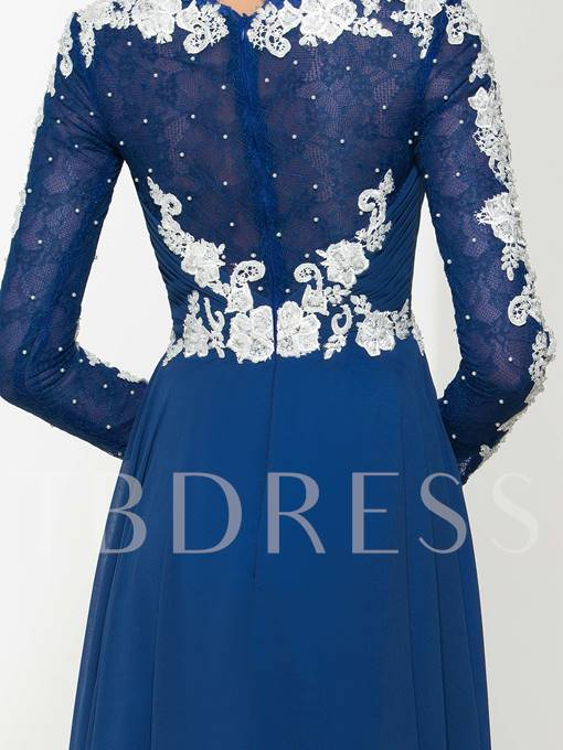 V-Neck Appliques Lace Beading Evening Dress