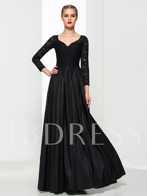 Long Sleeves A-Line V-Neck Lace Floor-Length Evening Dress
