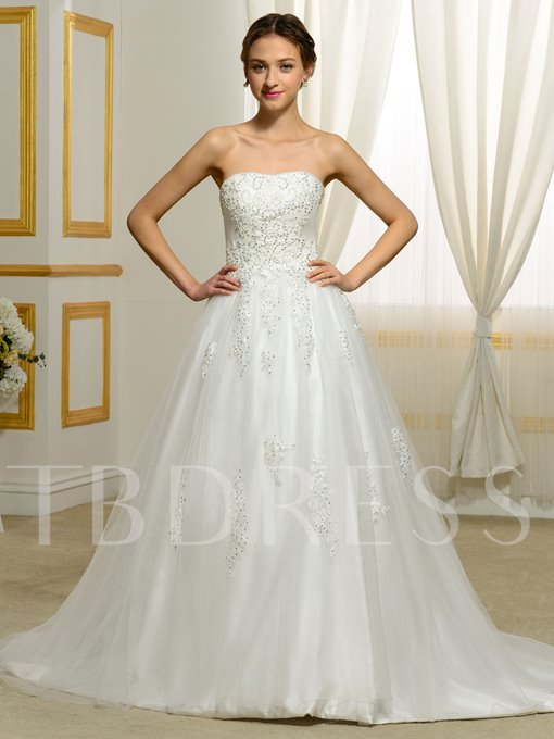 Strapless Beading Appliques Tulle A-Line Wedding Dress