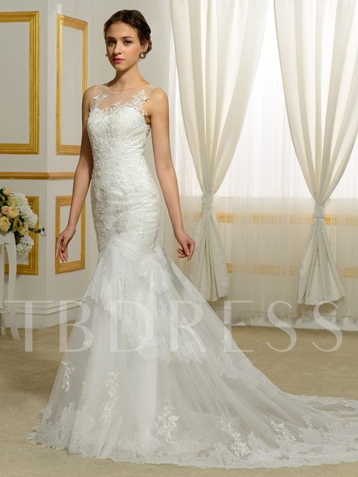 Trumpet/Mermaid Sleeveless Court Train Appliques Lace Wedding Dress