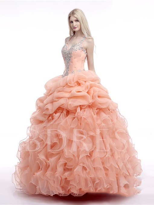 Straps Ruffles Ball Gown Beading Floor-Length Quinceanera Dress