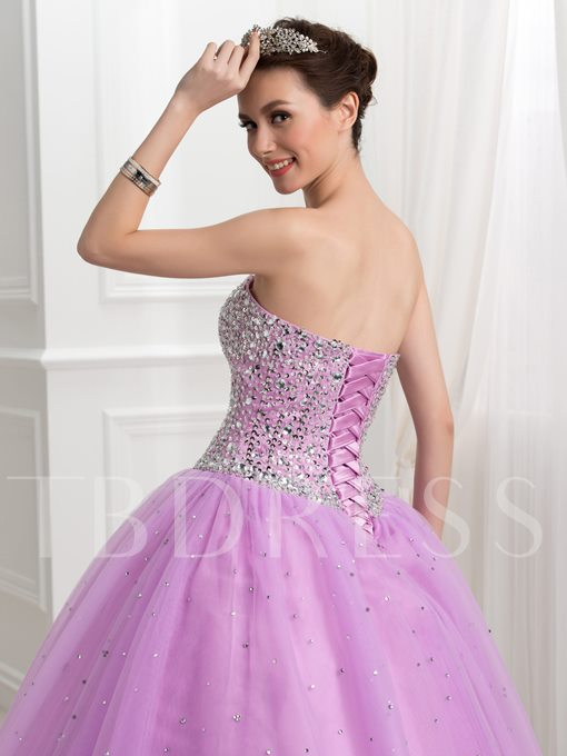 Beading Sweetheart Ball Gown Floor-length Lace-Up Quinceanera Dress