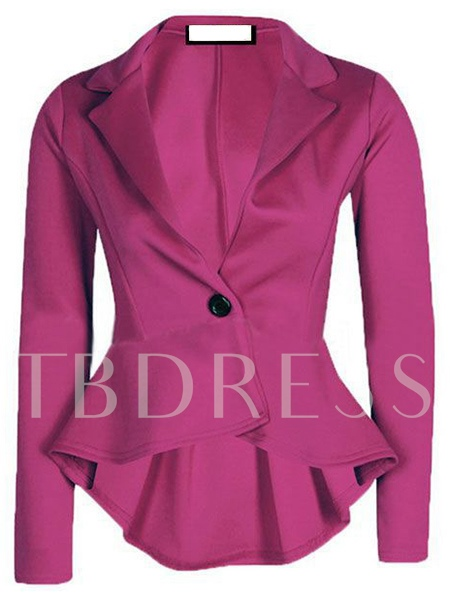 Solid Color High Low Lapel Slim Women's Blazer