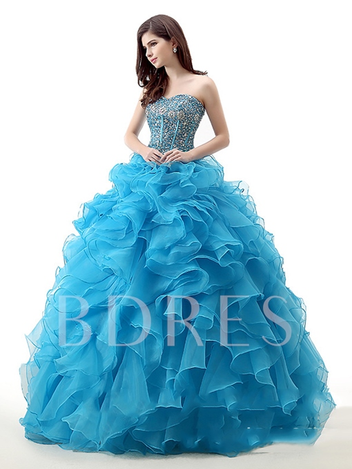 Sweetheart Lace-Up Ball Gown Beading Quinceanera Dress