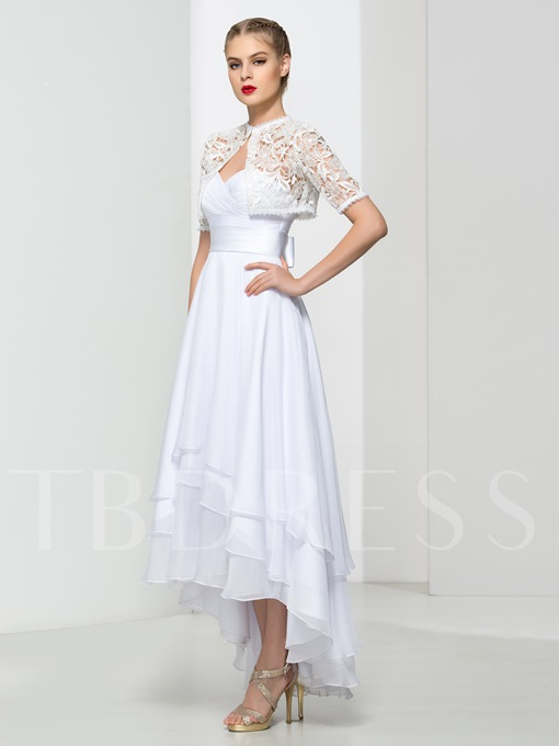 A-Line Jewel Neck Bow Ruffles Tiered High-Low Prom Dress
