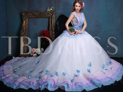 V-Neck Beaded Embroidery Quinceanera Dress