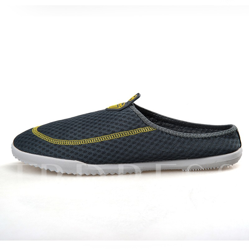 Round Toe Contrast Color Flat Heel Mesh Men;s Sandals