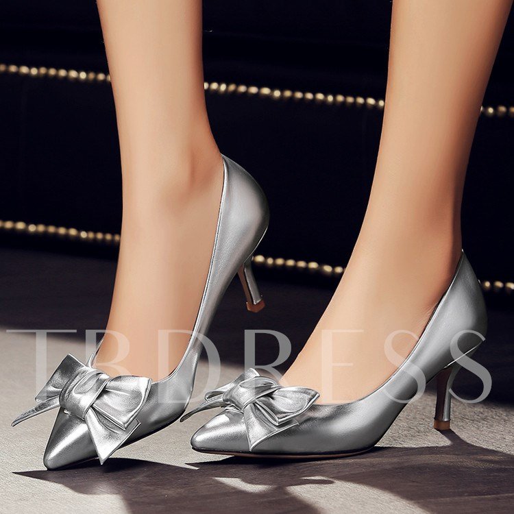 Pointed Toe Stiletto Heel Plain Bowtie Women's Pumps