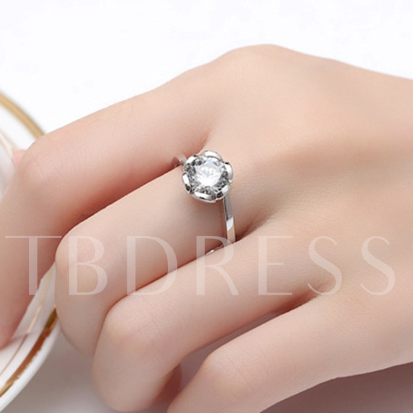 Lotus Silver Diamond Shaped Ring